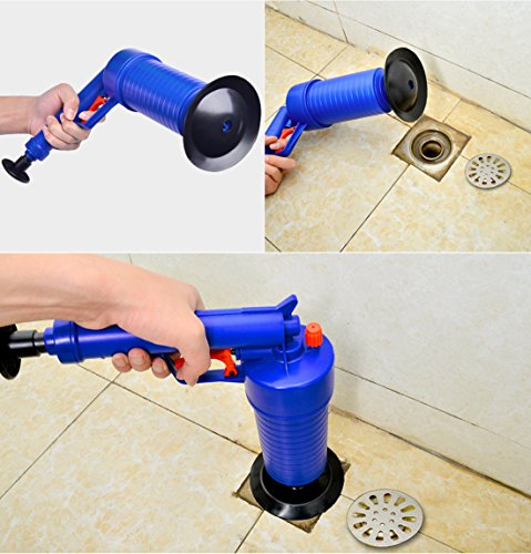 High Pressure Air Power Drain Blaster gun,PERTTY Cleaner Unclogs Toilet Pump Hand Powered Plunger Set for Bath Toilets, Bathroom, Shower, kitchen Clogged Pipe Bathtub(Blue) by PERTTY (Image #5)