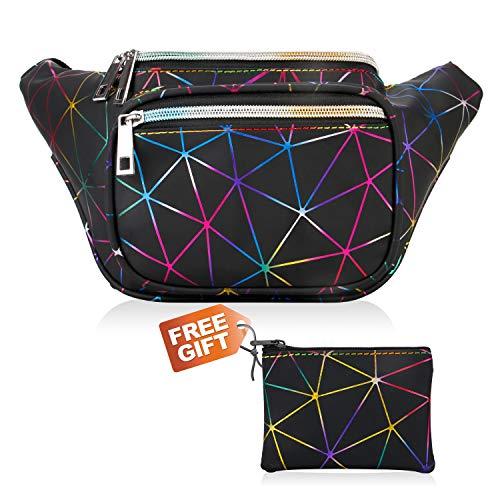 Fanny Pack, Waist Fanny Pack Bum Bag for Women Men,Waterproof Waist Pack Retro Neon Fanny Bag for Festival, Rave (colorful black)