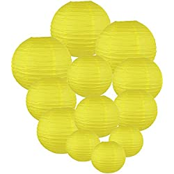 Just Artifacts Decorative Round Chinese Paper Lanterns 12pcs Assorted Sizes (Color: Lemon Yellow)