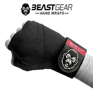Beast Gear Vendas Boxeo – Cintas Boxeo de Calidad Superior para Deportes de Combate, MMA, Artes Marciales Muay Thai ★ Cinta Elástica 4,5 Metros