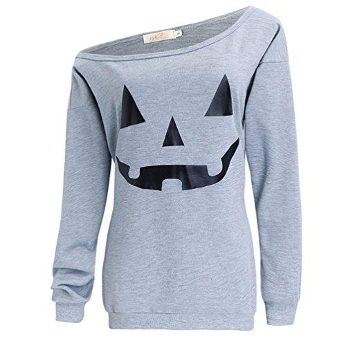 Dutebare Women Halloween Off Shoulder Sweatshirt Slouchy Witch Shirt Long Sleeve Pullover Tops Light Grey C S (Halloween C)