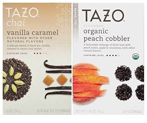 Tazo Flavored Black Tea 2 Flavor Variety Bundle; (1) Tazo Organic Peach Cobbler, and (1) Tazo Chai Vanilla Caramel, 1.76-1.8 Oz. ()