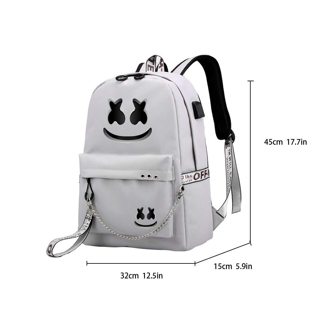 DJ Marshmello Backpack Teens Marshmallow High-capacity School Bag US Stock