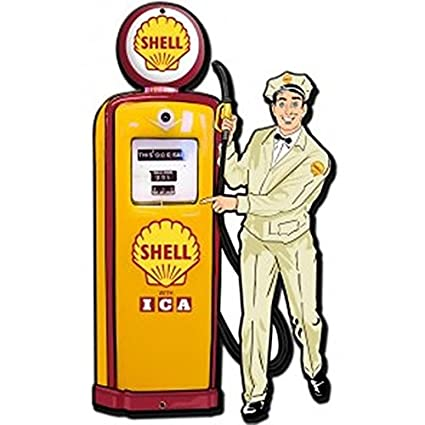 Amazon com : Shell Gas Pump Attendant Vintage-Style Steel Sign Gas