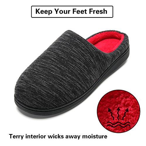 Hombre Rojo Hombre Estar Por Zapatillas Cómodo Casa Ultraligero De Y Interior Antideslizante Para Negro Zapatilla Con Rayas P88qaE
