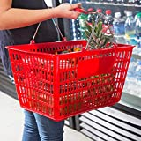 Red Plastic Shopping Basket with Strong Metal