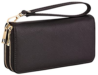 AimTrend Women's Fashion PU Leather Zippered Clutch Wristlet Wallet Handbag with Wrist Band