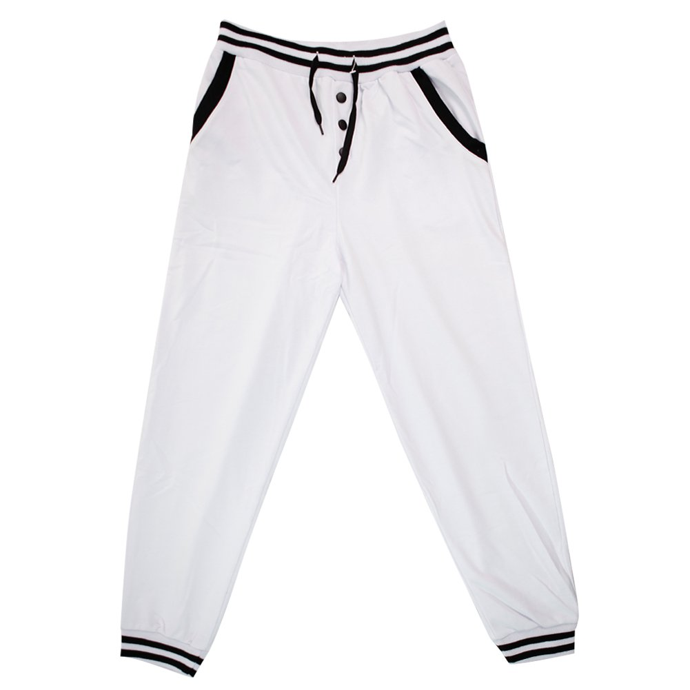 Eleery Mens Low Rise Baggy Button Strap Sports Sweat Pants Pocket Hip Hop Trouser