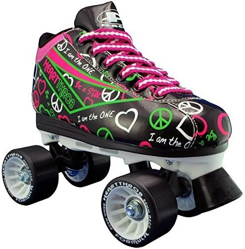 Pacer Black Neon Heart Throb Quad Roller Speed Skates with Bonus 3 Pr. Laces Kids 3