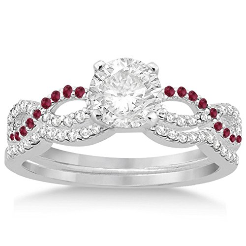 Infinity Twist Diamond and Ruby Engagement Ring and Diamond Contour Wedding Band Platinum (0.34ct) -