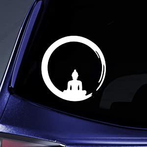 "Bargain Max Decals Buddha Ring Sticker Decal Notebook Car Laptop 5.5"" (White)"