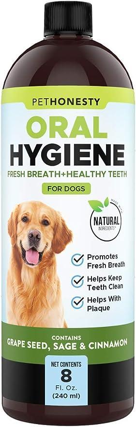 PetHonesty Oral Hygiene Natural Dental Water Additive   Natural Ingredient Dog Mouthwash + Teeth Cleaning   Keeps Teeth + Gums Clean   Freshens Breath + Targets Plaque + Tartar