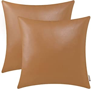 BRAWARM Pack of 2 Cozy Throw Pillow Covers Cases for Couch Sofa Home Decoration Solid Dyed Soft Faux Leather Both Sides 18 X 18 Inches Tan