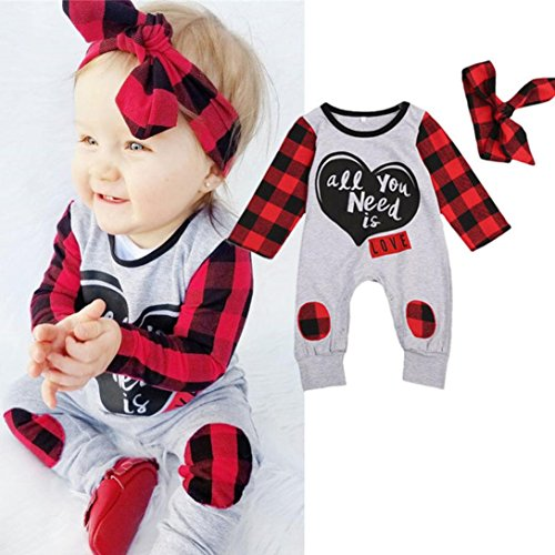 Red Cover 2 T-shirt (BeautyVan Hot Sale ! 2Pcs Set Baby Outfits Set,Newborn Baby Boys Girls Letter Print Plaid Ankle-Length Jumpsuit Outfits (6M, Gray))