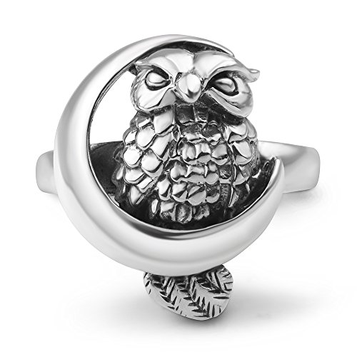 Sterling Silver Witch (925 Oxidized Sterling Silver Owl Bird on Crescent Moon Band Ring Jewelry Size 8)