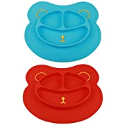 Mockins 2 pack Mess Free Silicone Suction Baby Placemat With Bowl & Plate Safe For Children Kids & Toddlers Fits Most Highchair Feeding Tray In Your Kitchen Or Dining Table - Blue & Red Bear … … … …