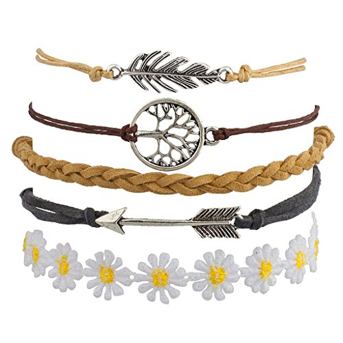 [Lux Accessories Metal Leaf Tree of Life Arrow Flower Floral Woven Arm Candy Bracelet Set] (Arm Candy Costume)