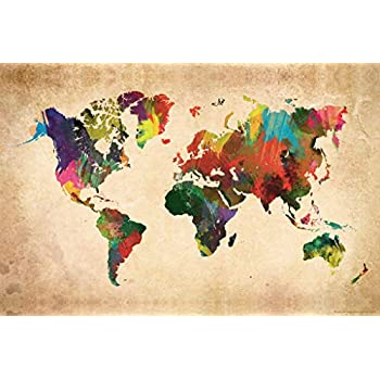 Colorful Map of The World Cool Wall Decor Art Print Poster 12x18
