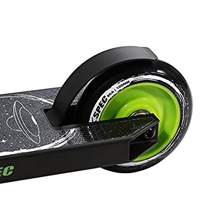 Xspec Matte Black Alien Pro Stunt Kick Scooter w/Strong 6061 Aluminum Deck - 220lb Weight Limit - TPE Rubber Hand Grips - ABEC-9 Bearing- HIC System