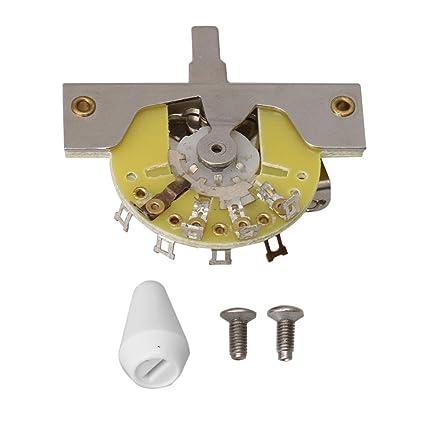 BQLZR Metal cromado Pastilla de 5 Vías interruptor de palanca para guitarra eléctrica de repuesto Pat