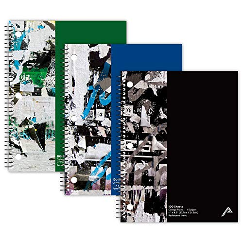 Viva Activa Creative College Ruled Spiral Notebook, 1 Subject, 100 Pages, 8.5