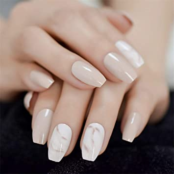 Amazon.com  Nude Ballerina Fake Nails Marble White Natural
