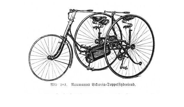 Naumann Victoria de doble funda de asiento de triciclo ---Enmarcado enanos/reproducción de un grabado en madera-ilustración de una bicicleta-Fachbuch de 1890 - para fotos de 10 x 15 cm, piel de detrás