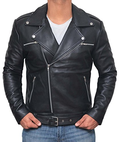 Motorcycle Negan Leather Jacket Men - Mens Black Jackets for Biker