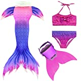 Mayskey Mermaid Tails for Swimming with Monofin - Mermaid Tail Swimsuit for Gilrs 4PCS Set (Blue and Pink, 110 (4-5Yeas))