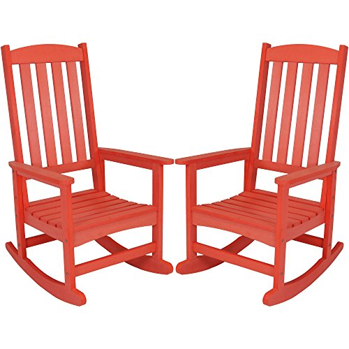 (Sunnydaze Outdoor Patio Rocking Chair, All-Weather Faux Wood Design, Set of 2, Salmon)