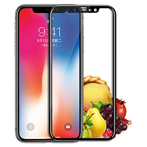 iPhone X Screen Protector,Tempered Glass Screen Protector Applicator Frame with Double Shielding ,3D Touch Compatible 9H Hardness Screen Protector Glass Guard for iPhone X (Black) 3 X Applicator