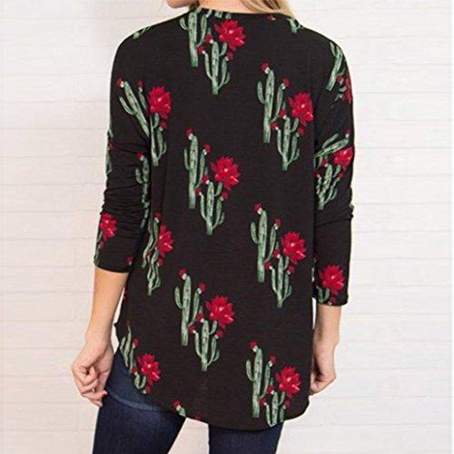 DAY8 chemise femme soiree Cactus blouse femme grande taille chic manteau femme fashion Printemps t-shirt femme été vetement femme pas cher sport casual mode top haut fille ados Noir