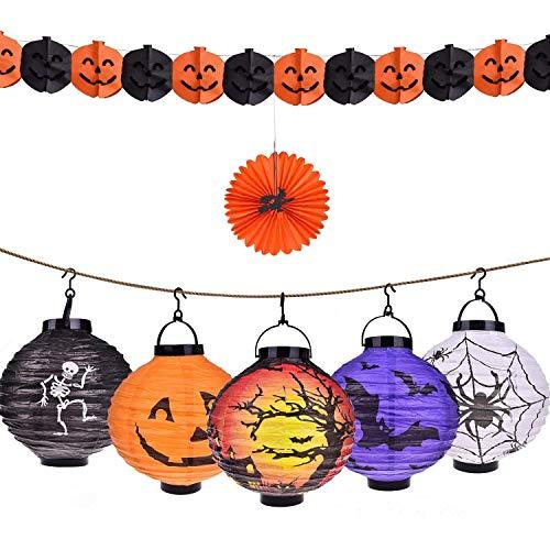 Halloween Decorations Paper Lanterns with LED Light,5pcs of Pumpkin Spider Bat Skeleton Castle Halloween Party Supplies