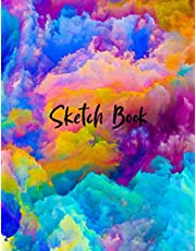 Sketch Book: Best Blank white Pages with Paint Art Multicolor Cover for Painting, Drawing, Writing, Sketching and Doodling, Wide papers 8.5 x 11, 100 pages and Perfect Gift
