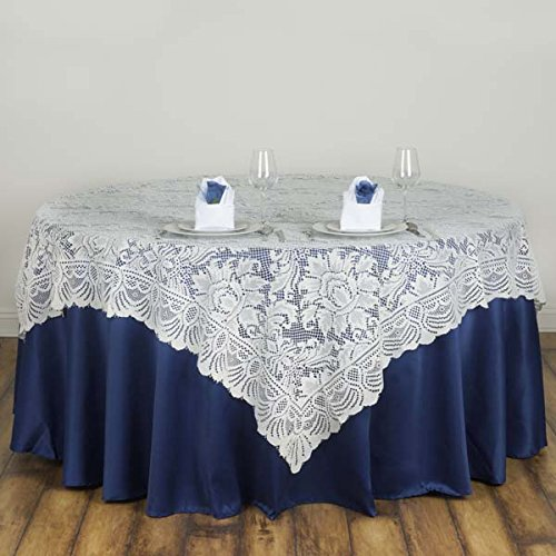 Tableclothsfactory 72'' x 72'' Jolly Good Lace Table Table Overlay - Ivory (Table Toppers) by Tableclothsfactory
