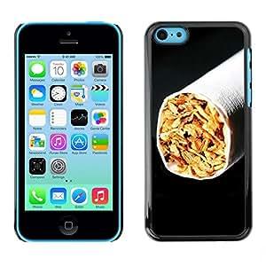 [Neutron-Star] Snap-on Series Teléfono Carcasa Funda Case Caso para iPhone 5C [Cigarrillos Tabaco Negro minimalista de fumadores]