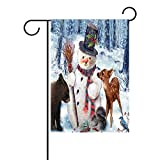 LAVOVO Cute Winter Snowman Deer Bear Squirrel Bird Garden Flag Double-Sized Print Decorative Holiday Home Flag , 28 x 40 inches Review