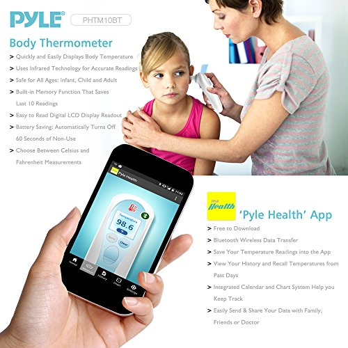 Pyle Digital Ear Medical Smart Thermometer - Sensitive Infrared Readings Safe and Easy for Babies Adults or Children - Detect Fevers and Wirelessly Track Readings with Apple/Android Pyle Health Mobile App Using Bluetooth by Pyle (Image #3)