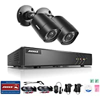 ANNKE Security Camera System with 4 CH 720P DVR and (2) Security Cameras Outdoor Weatherproof , 100ft Night Vision -IR Cut build in, Quick Remote Access via Smartphone--No HDD