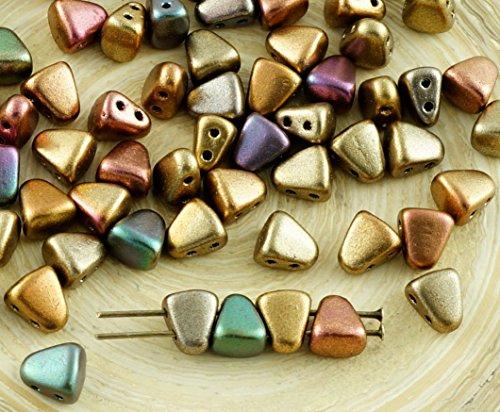 New Shape 60pcs Matte Metallic Mix Orange Rainbow Nib-Bit Matubo Czech Glass 2 Two Hole Triangle Trapezoid Beads 5mm x 6mm
