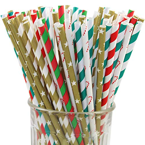 150 Christmas Holiday Paper Straw Combo, 6 Designs - 100% Biodegradable - 7.75 Inches - Holiday Party Supply - 150 Straws, 6 Patterns Individually -