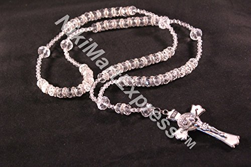 Hand Made 10mm x 8mm Crystal AB Faceted Rondelle Beads Necklace Cross Pendant (clear) ()