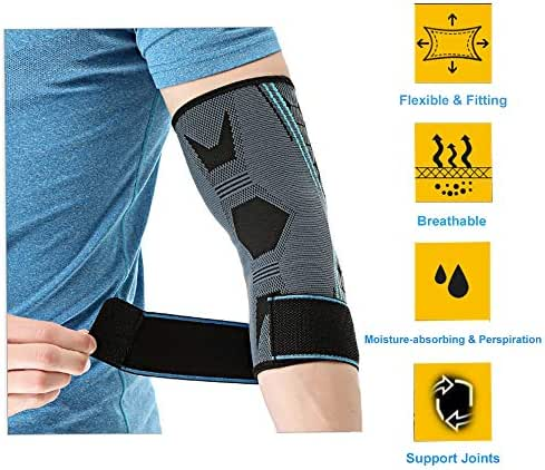 Tennis Elbow Brace Support Golfers Elbow Brace for Tendonitis Bursitis Elbow Compression Sleeve Counterforce Carpal Tunnel Stabilizer Bowling Cubital Weightlifting Adjustable Arthritis Pain Relief