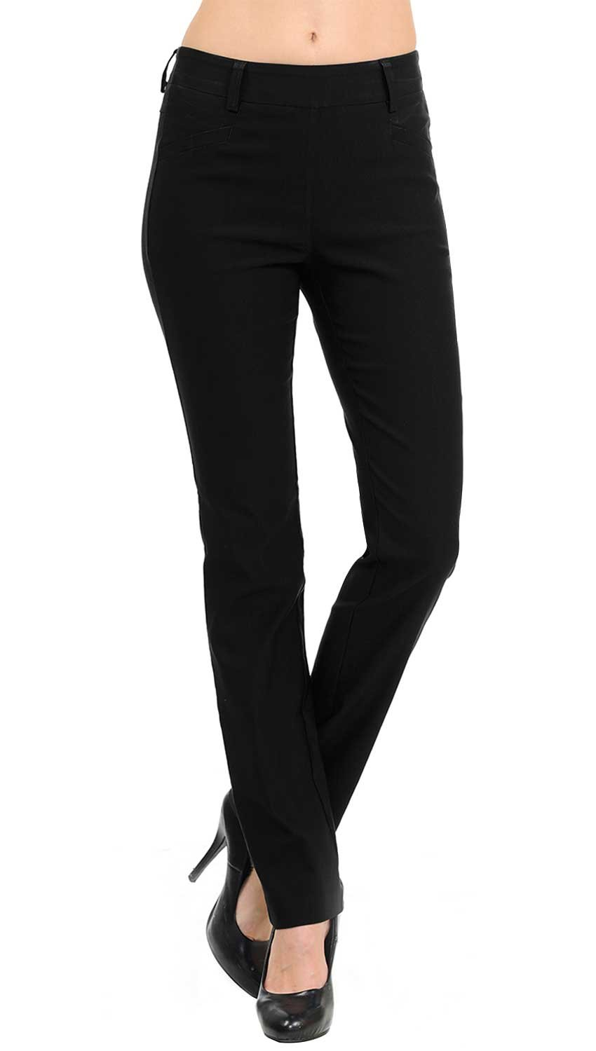 VIV Collection New Straight Fit Long Trouser Pants (Medium - 32'' Inseam, Black)