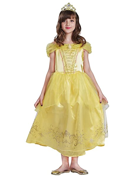 FantastCostumes Girl's Costumes Yellow Party Fancy Princess Dress(Yellow, S)