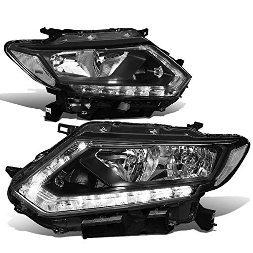 DNA Motoring HL-OH-NROG14-BK-CL1 Black Housing Headlights With LED DRL Strip Replacement For 14-16 Rogue