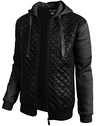 0d4f20d64703 Mensfield Mens Diamond Quilted Faux Leather Hoodie Hooded Jacket Hip ...