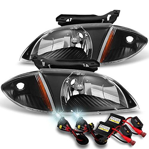 Cavalier Coupe & Sedan Black Pair Headlights w/Corner Lights + 6000K HID Kit ()
