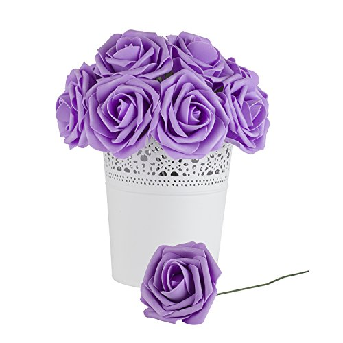 Dinopure Wedding Bouquet 50pcs Artificial Flowers White Real Touch Artificial Roses for Bouquets Centerpieces Wedding Party Baby Shower DIY Decorations (lavender) (Lavender Wedding Flowers)