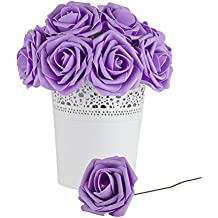 Dinopure Wedding Bouquet 50pcs Artificial Flowers White Real Touch Artificial Roses for Bouquets Centerpieces Wedding Party Baby Shower DIY Decorations (lavender)